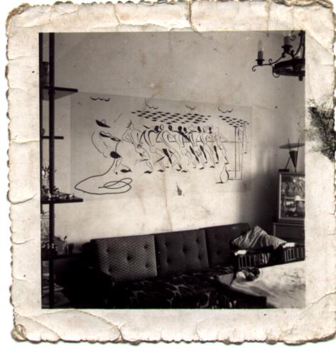 Sao Paulo, SP,Brasil. Data 1965. Afresco de João Maceno Pinheiro. Apartamento no quarto andar do Edificio Paladino. Rua Peixote Gomide. Bela Vista. Sao Paulo.Fotografia de Lenise Pinheiro/Acervo Pessoal